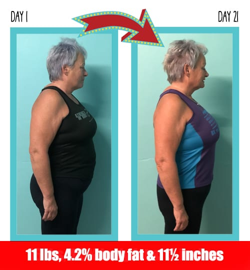 Geraldine lost 11 pounds in 21 days at Million Dollar Fitness