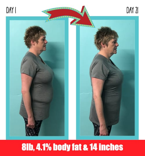 Ruth lost 8 pounds in 21 days at Million Dollar Fitness